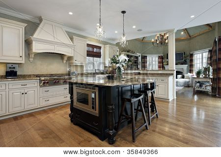 Kitchen in luxury home with white cabinetry