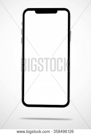 Closeup Modern Digital Black Smartphone Mobile Mock Up Blank Front Screen Isolated On White Backgrou