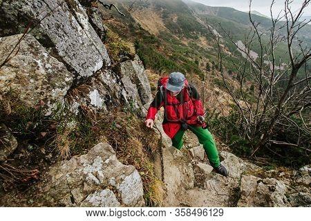 Tourist In Beautiful Babia Gora Mountain On The Way To Diablak, In Polish Beskid Mountains. Autumn F