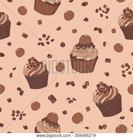 Sweet Vector Pattern With Cupcakes And Pralines