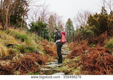 Tourist In Babia Gora Mountain