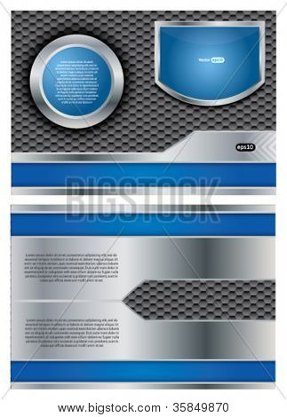 Two sided vector metallic brochure design with blue elements