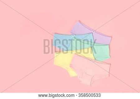 Multi-colored Cotton Panties For A Girl On A Pink Background