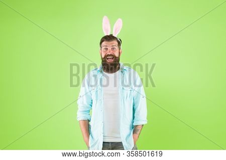 Easter Bunny. Happy Hipster Wear Bunny Ears. Bunny Rabbit Green Background. Bearded Bunny In Casual