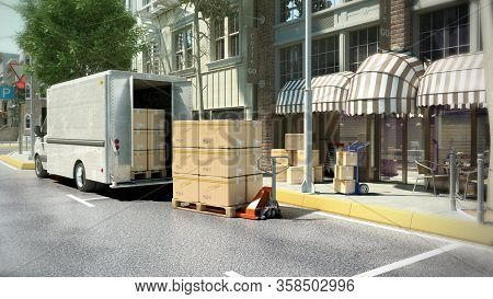 Concept Of Delivery Of Goods To A Cafe Or Restaurant Boxes Are Loaded From A Truck At The Entrance T