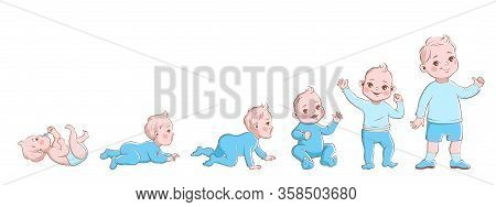 Baby Growth Process. Life Cycle Stages Development, Child From Newborn To Preschool. Boy Crawling, S