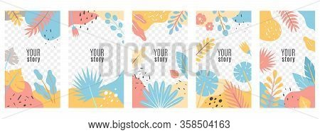 Stories. Social Networks Posts Floral Cover Design, Frame With Tropical Leaves, Social Media Posts M
