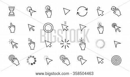 Collection Of Mouse Arrow, Computer Pointer. Hand Cursor, Clicking Pointer Vector Icon.