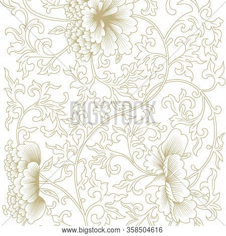 Japanese Golden And White Vector Background. Peony Flower Oriental Pattern. Asian Antique Floral Tex