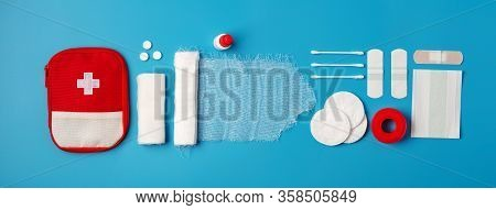 Creative Layout Of Medicines For First Aid, First Aid Kit For Tourists