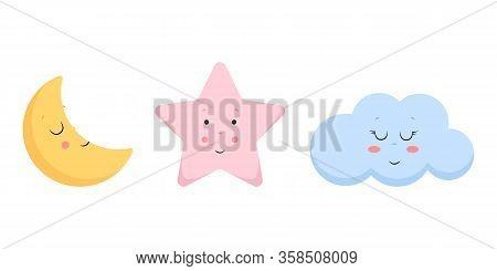 Vector Illustration Of Cute Cloud, Moon And Star. Scandinavian Nursery Print Design. Cartoon Vector