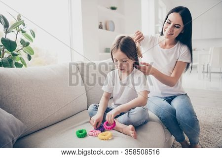Happy Sweet Adorable Two People Loving Mommy Make Haircut Ponytail Brush Comb Her Little Kid Daughte