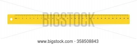 Line Of 30 Centimeters. Vector School, Plastic Yellow Isolated Rulers With Double Side Measuring Inc