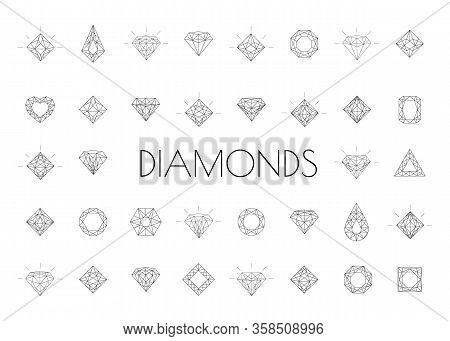Crystal Stone Line Icons Symbol Set Vector Illustration. Jewels Diamond Icons. Diamonds Gems, Luxury