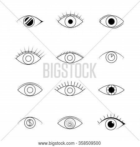 Eye Icons. Human Vision And View Signs. Vector Line Art Eye Illustration Isolated On White Backgroun
