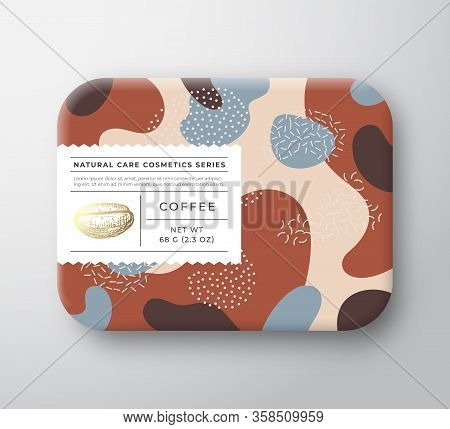 Coffee Bath Cosmetics Package Box. Vector Wrapped Paper Container With Care Label Cover. Packaging D