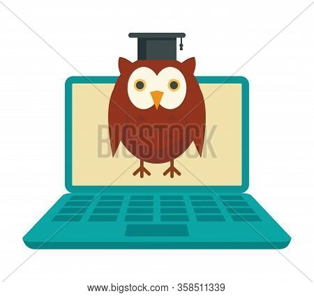 Distance Learning. Vector Illustration With Laptop And Wise Owl, Symbol Of Distance Learning. Quaran