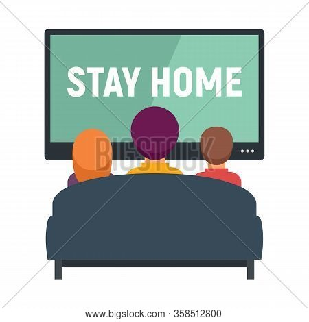 Family And Kids Watching Tv Vector Concept. Illustration With Family Watching Tv. Stay Home.