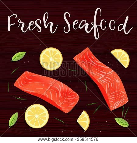 Still Life Top View Flat Lay With Red Fish, Lemon, Rosemary. Vector Illustration On Wooden Table Bac