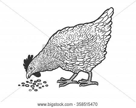 Chicken Pecks Grain Sketch Engraving Vector Illustration. T-shirt Apparel Print Design. Scratch Boar