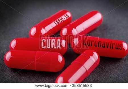 Concept Picture Of A Cure For Coronavirus Covid-19. Cura Means Cure In Spanish, Italian And Portugue