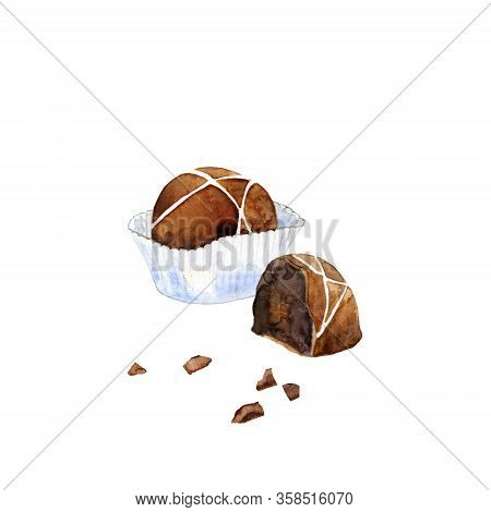 Milk Chocolate In Paper Cup And A Half Of Candy With Icing. Cacao Candy Isolated On White. Watercolo