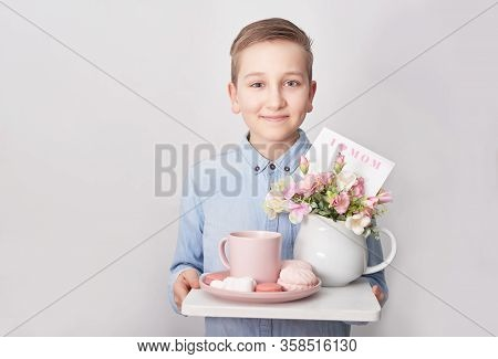 Child Boy With Breakfast. Mother's Day Greeting Card. Happy Mothers Day Frame Background. Spring Car