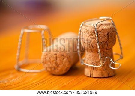 Champagne Corks Close Up. Sparkling Wine Corks