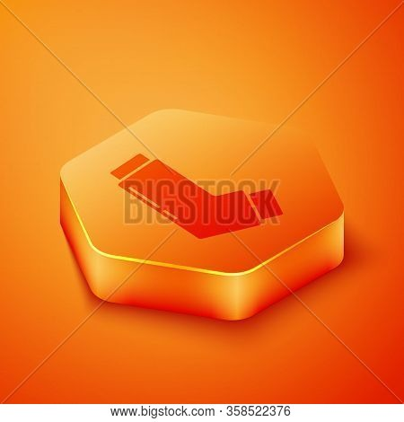 Isometric Inhaler Icon Isolated On Orange Background. Breather For Cough Relief, Inhalation, Allergi