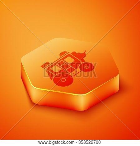 Isometric Western Stagecoach Icon Isolated On Orange Background. Orange Hexagon Button. Vector Illus