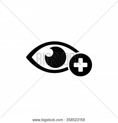 Human Eye With Plus, Farsighted Vision, Hyperopia. Flat Vector Icon Illustration. Simple Black Symbo
