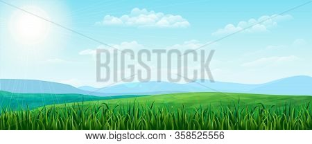 Vector Horizontal Green Summer Landscape. Bright Idyllic Spring Background With Green Meadows, Rural
