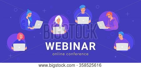 Webinar Online Conference. Concept Flat Vector Illustration Of Young Various Teenagers Using Laptop