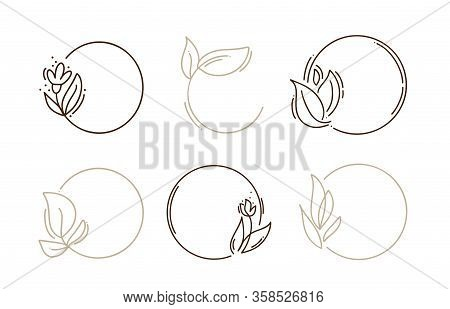 Set Of Hand Drawn Round Minimalistic Frames With Branch Line Wreath. Vector Floral Wedding Design El