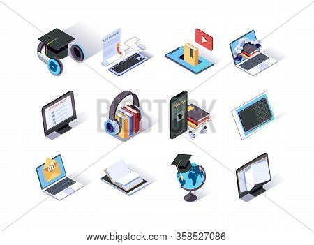 Online Education Isometric Icons Set. School Homework And University Testing By Email. Distance Educ
