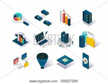 Big Data Isometric Icons Set. Data Collection, Storage In Cloud Database And Analysis. Computer Tech