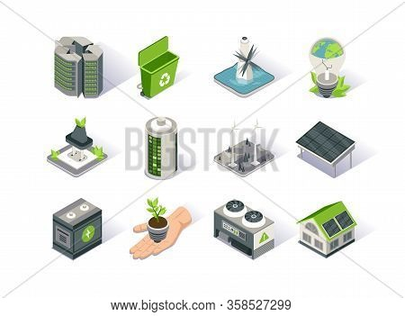 Clean Energy Isometric Icon Set. Ecology Environment And Electricity Generation. Alternative Sources