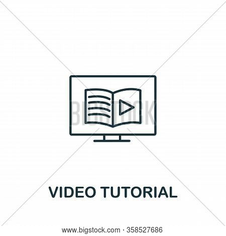 Video Tutorial Icon From E-learning Collection. Simple Line Element Video Tutorial Symbol For Templa