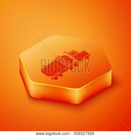 Isometric Tanker Truck Icon Isolated On Orange Background. Petroleum Tanker, Petrol Truck, Cistern,