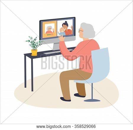 Elderly, Old People, Senior People At Home, Playing Chess, Chatting On Computer With Grandchildren,