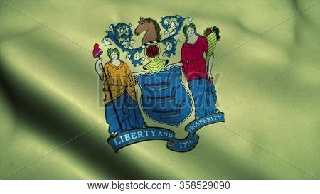 New Jersey State Flag Waving In The Wind. National Flag Of New Jersey. Sign Of New Jersey State. 3d