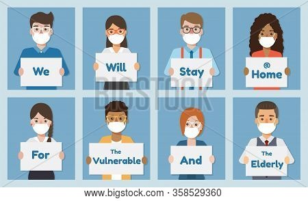 People Holding Poster Requesting People Avoid Corona Virus And Covid-19 Spreading By Staying At Home