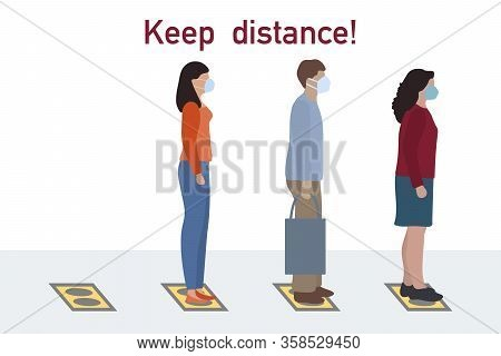 Vector Illustration Keep Distance. Social Distancing. Chinese Coronavirus Covid-19 People Stand On S