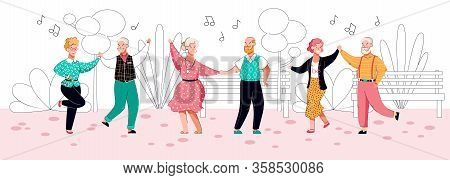 Old People Dancing In Park - Cartoon Senior Couples Doing Dance Moves