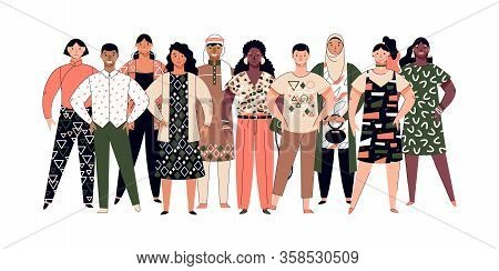 Society Diversity - Crowd Of Multiethnic People, Vector Illustration Isolated.