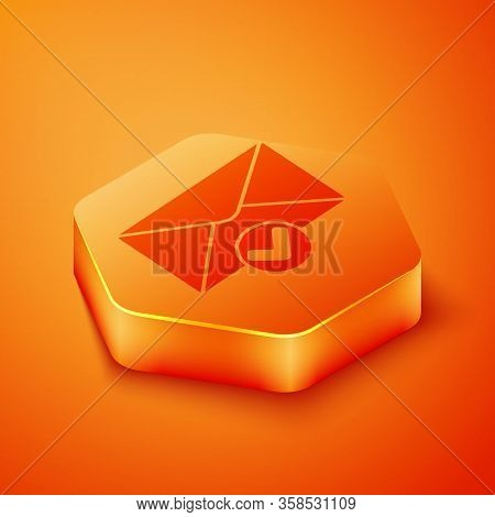 Isometric Envelope And Check Mark Icon Isolated On Orange Background. Successful E-mail Delivery, Em
