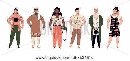 Crowd Of Multiethnic People Cartoon Characters, Vector Illustration Isolated.