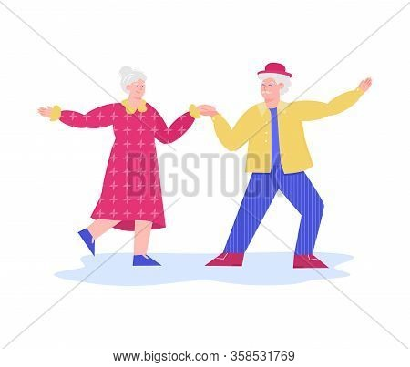 Happy Old Couple Dancing Together - Cartoon Senior Man And Woman