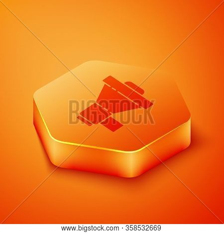 Isometric Megaphone Icon Isolated On Orange Background. Loud Speach Alert Concept. Bullhorn For Mout