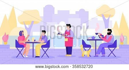 Cartoon People In Street Cafe - Outdoor Seating Area Of City Restaurant